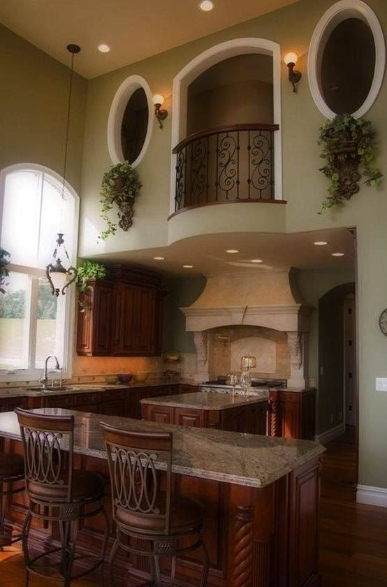 This Is Definitely My Dream Kitchen. Gorgeous Color And Will Go Well With My  Tuscan Theme. Absolutely In Love With The Indoor Balcony!