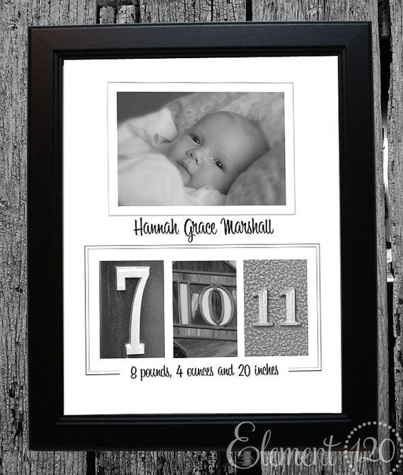 Find & take pics numbers on the day the baby was born ~ use with a newborn photo for a fun & creative birth announcement or frame for the home