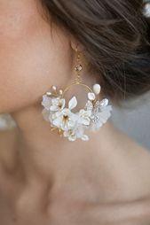 Photo of Silk flower hoop earrings Style 951, gold # creoles # silk flower # …