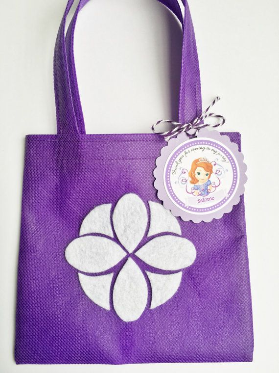 9975dc7c1 Set of 12 Sofia The First Favor Bags with Personalized Thank You Tags, Sofia  The First Party Favor, Princess Sofia Party, Sofia Birthday | Cumpleaños de  ...