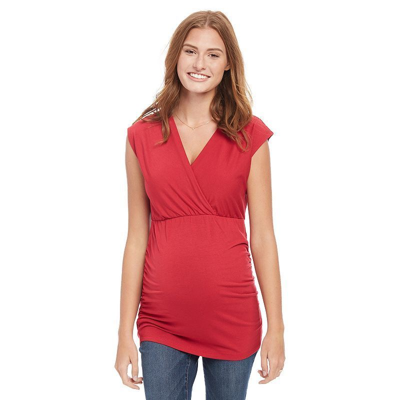 Maternity Oh Baby by Motherhood™ Ruched Surplice Tee, Women's, Size: Medium, Dark Red