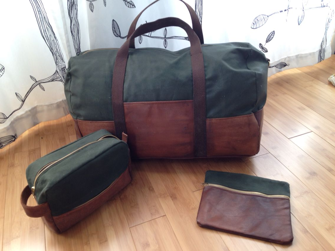 2f28b643eb Grainline patterns portside duffel. Made with leather and waxed canvas.