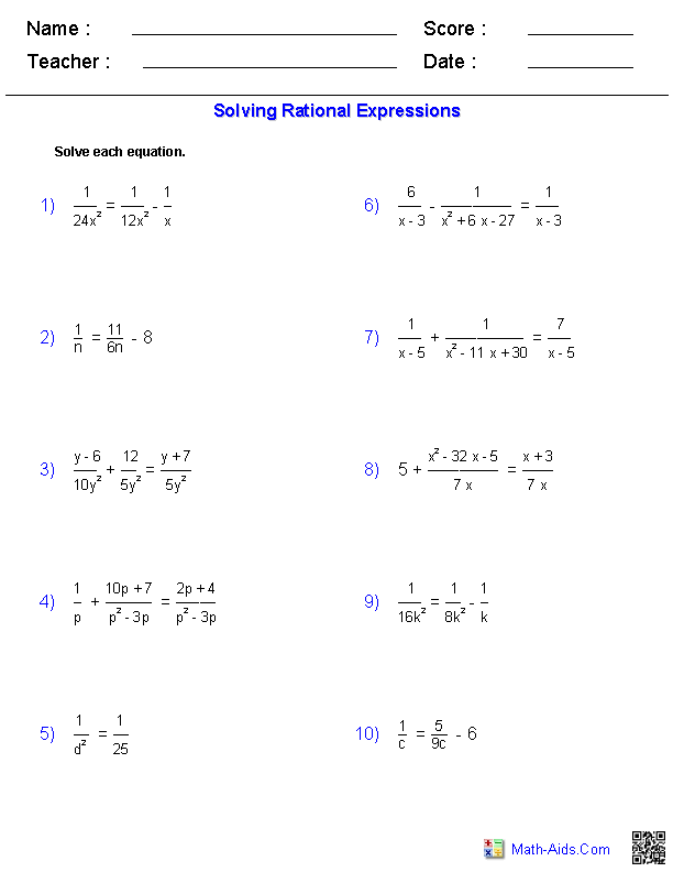 Rational Expressions Worksheets Algebra  Worksheets  Educational