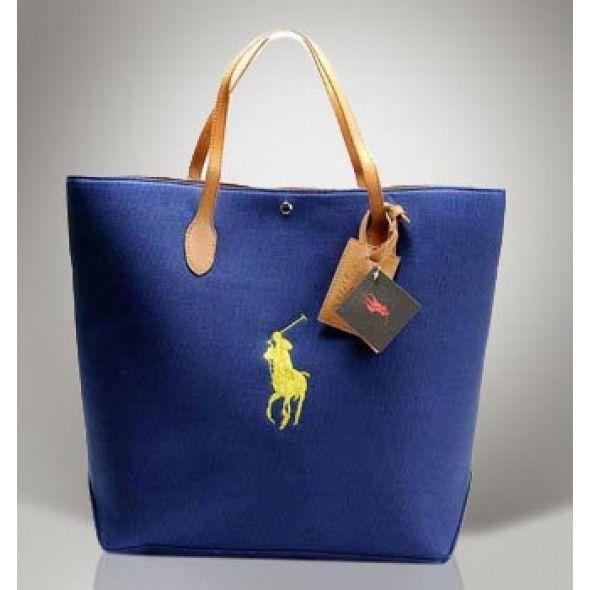 So cute!Ralph Lauren Darkblue Canvas Pony Slim Handbag! $46.20