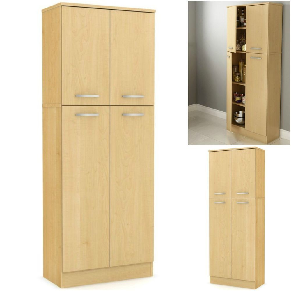 Tall Storage Cabinet Wood Cupboard Pantry Kitchen Laundry Room Garage Furniture As