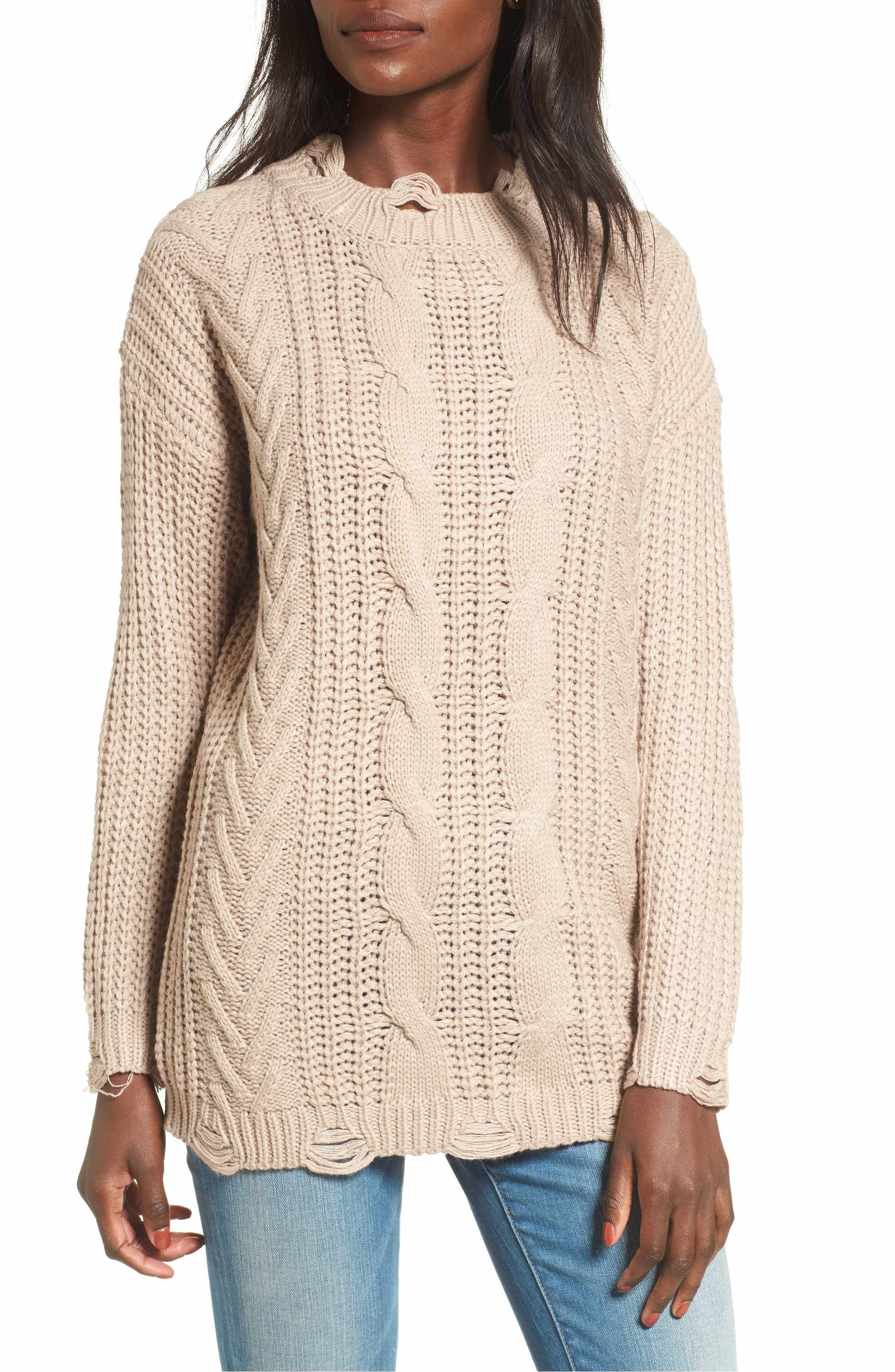 727d9df08a Main Image - Dreamers by Debut Distressed Cable Knit Sweater