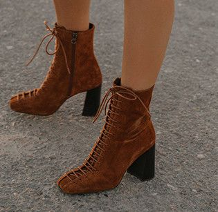 191d991e8b7 Women Funky heeled boots with laces JONAK, in camel coloured suede ...