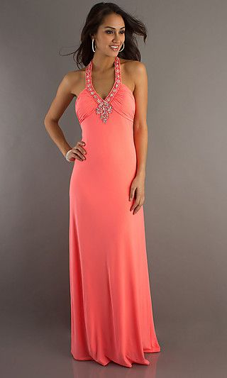 MO-11356: Halter Top Neon Coral Prom Dress.....(Shorten...and in ...