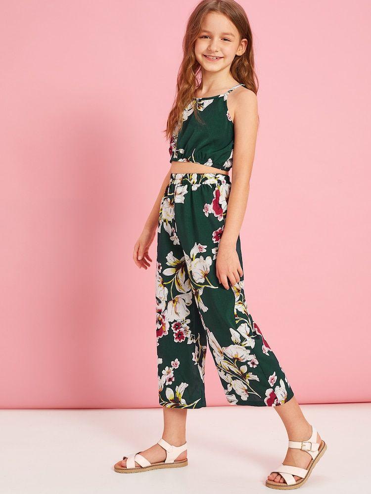 Conjunto De Ninas Cami Con Estampado Floral Con Pantalones Anchos Shein Es Ropa Para Ninas Ropa Linda Para Ninas Ropa Para Ninas Fashion