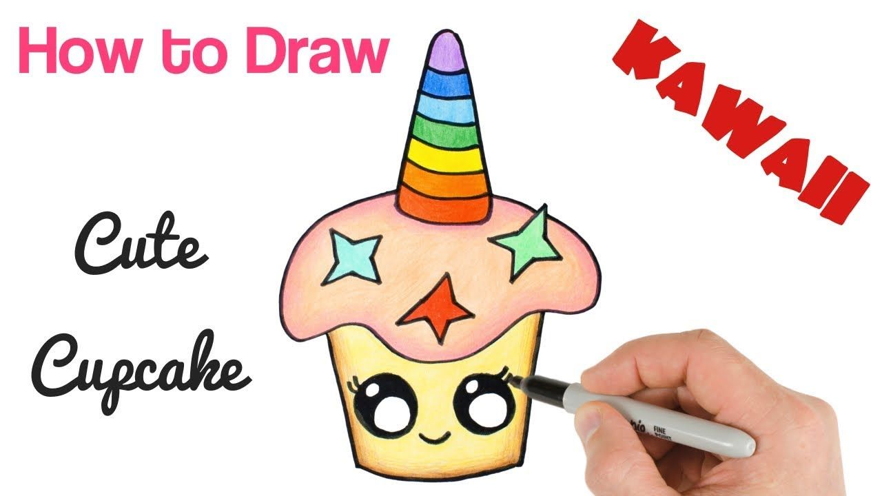 How To Draw Cupcake Unicorn Rainbow Cute And Easy With Images