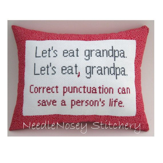 Funny Cross Stitch Pillow Funny Quote Red and Gray by NeedleNosey, $20.00