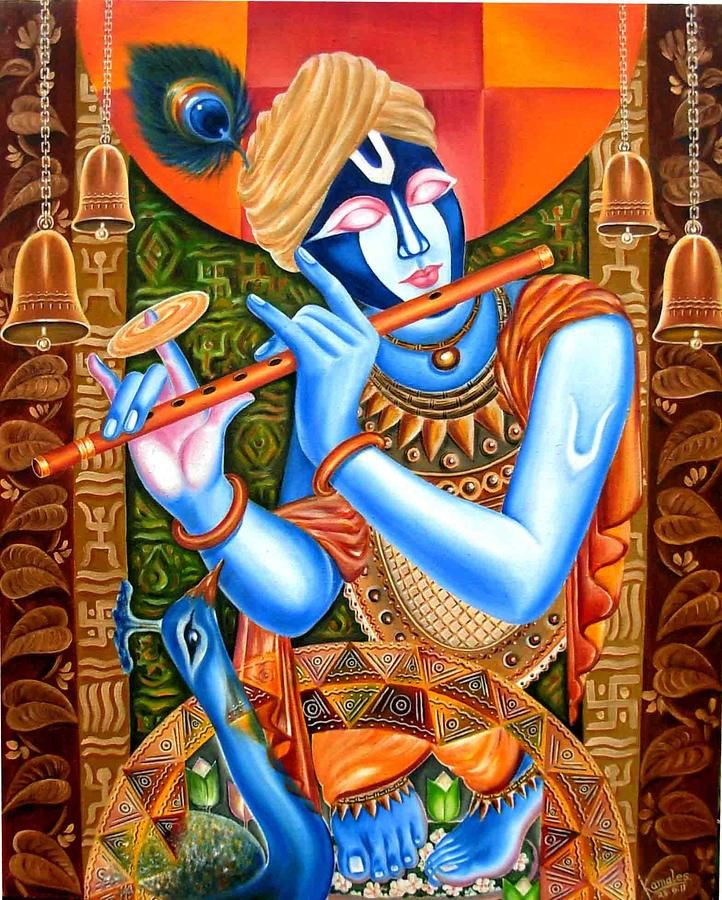 Lord Krishna Painting by Kamales Das | Indian Art ...