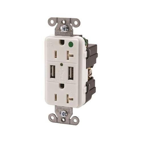 hubbell wiring devices usb8300w usb charger receptacle 20a 125vac rh pinterest com