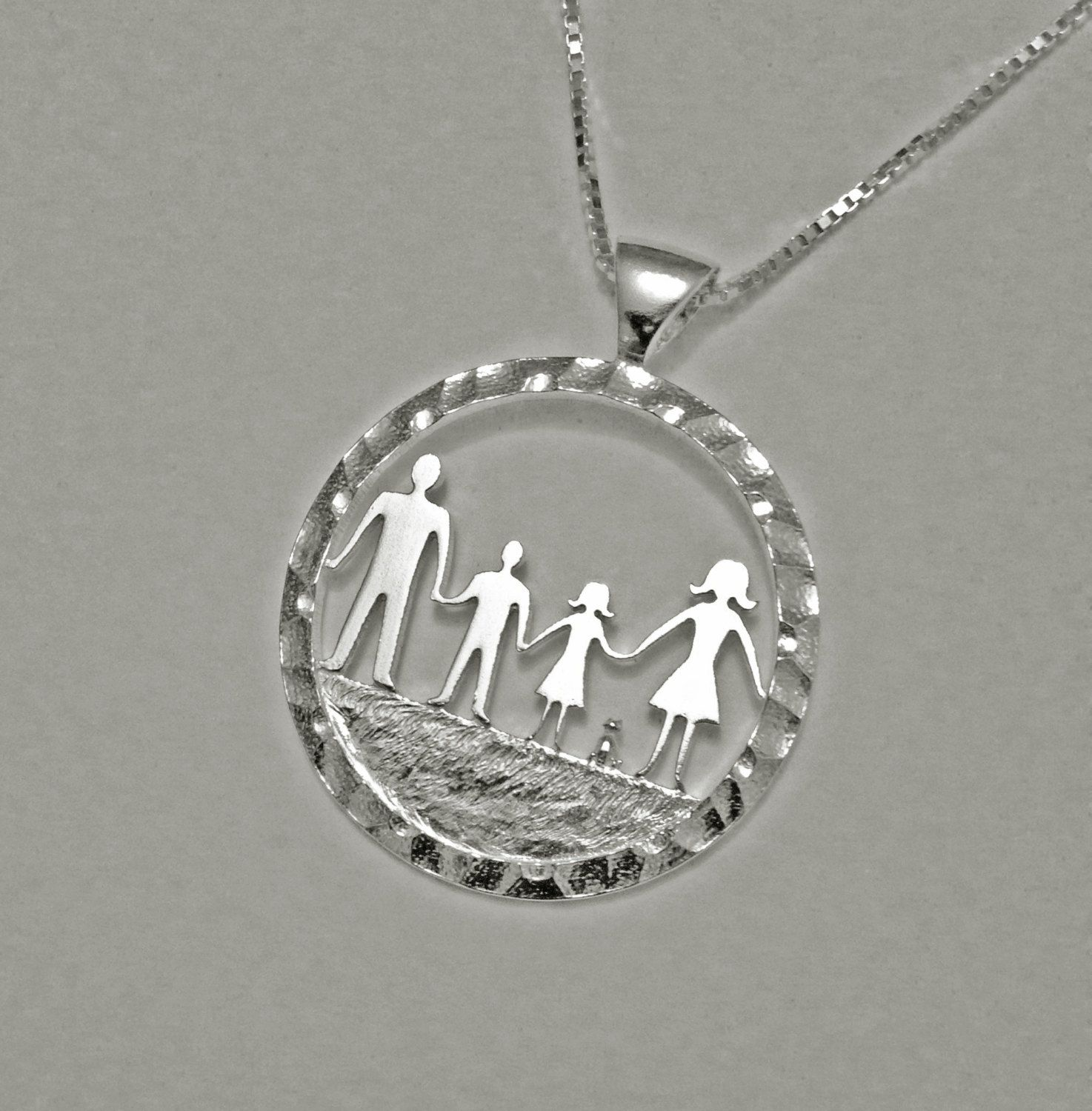 Custom Portrait Silver Family Necklace Mother\'s Day Gift Mother ...