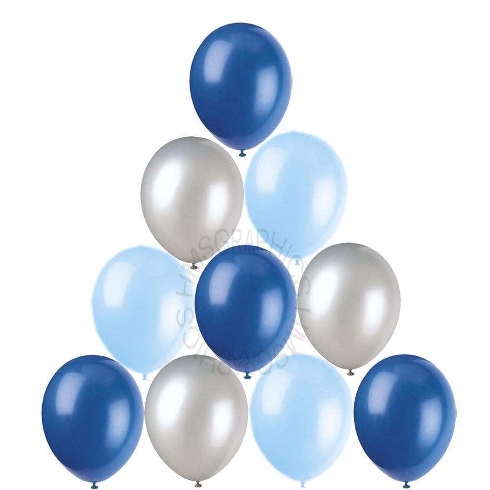 28 Silver Baby Royal Blue Helium Balloons Christening Birthday Party