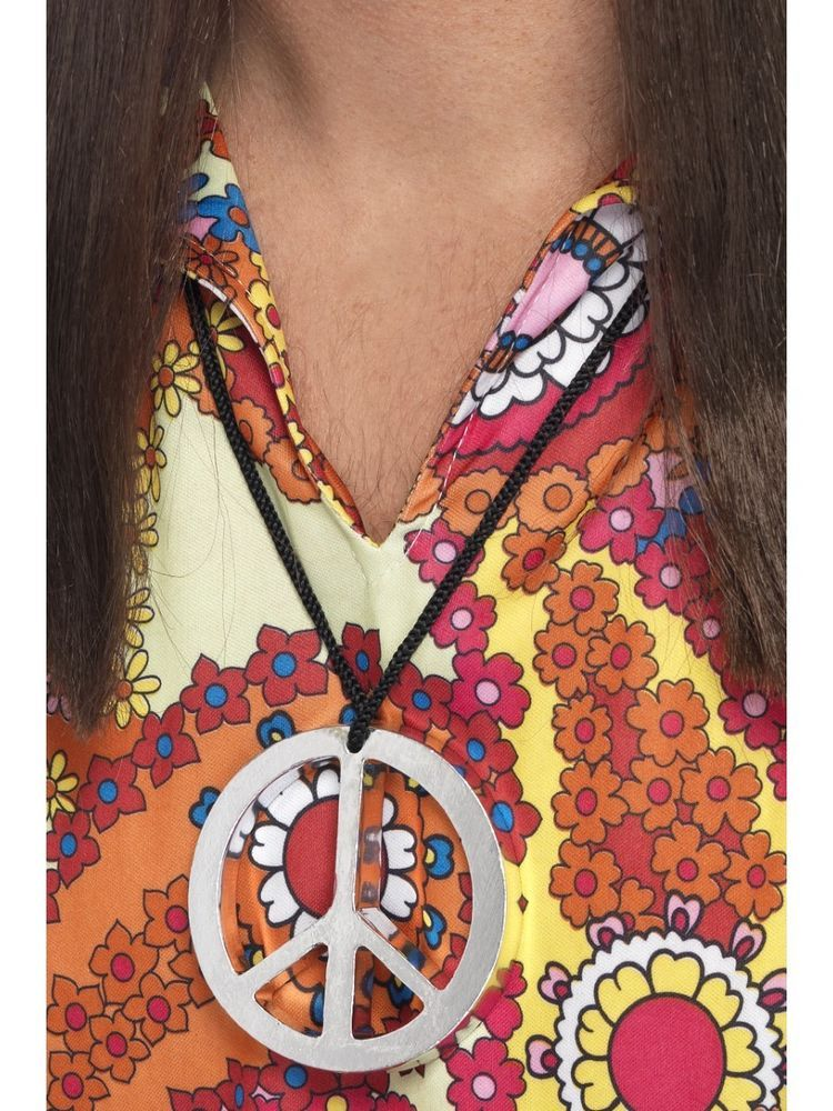 Hippie Peace Sign Medallion Silver Necklace Adults 60s Fancy Dress