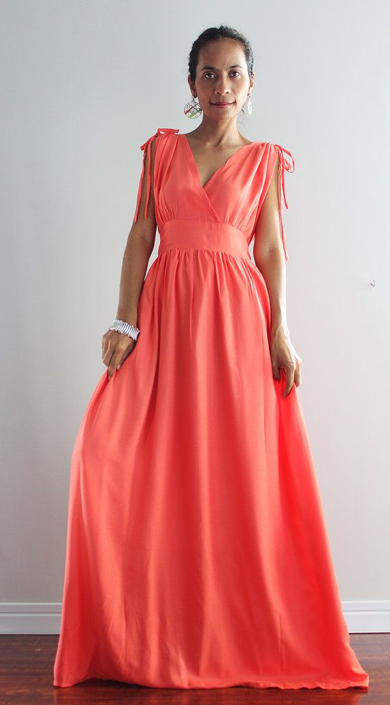 Coral Maxi Dress Sleeveless or Short Sleeve Evening by Nuichan ...
