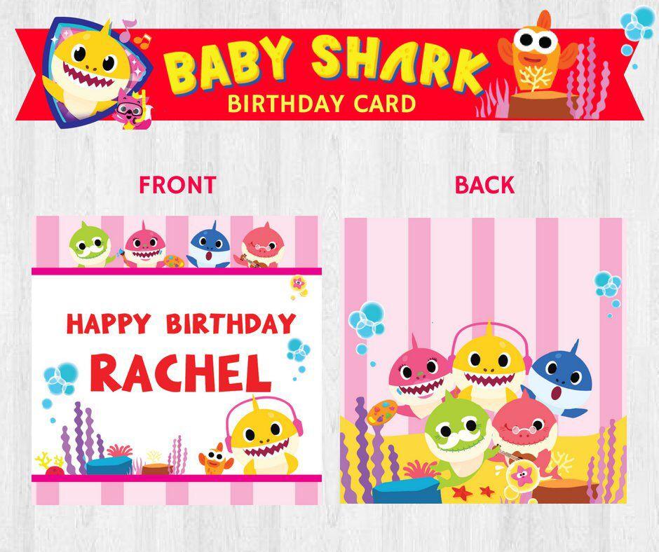 PinkFong Baby Shark Birthday Card EDITABLE Printable