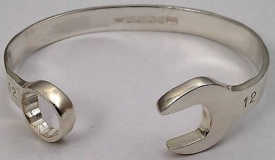 d52ba0f17b03c Details about Sterling Silver SPANNER BANGLE 925 Solid Wrench ...
