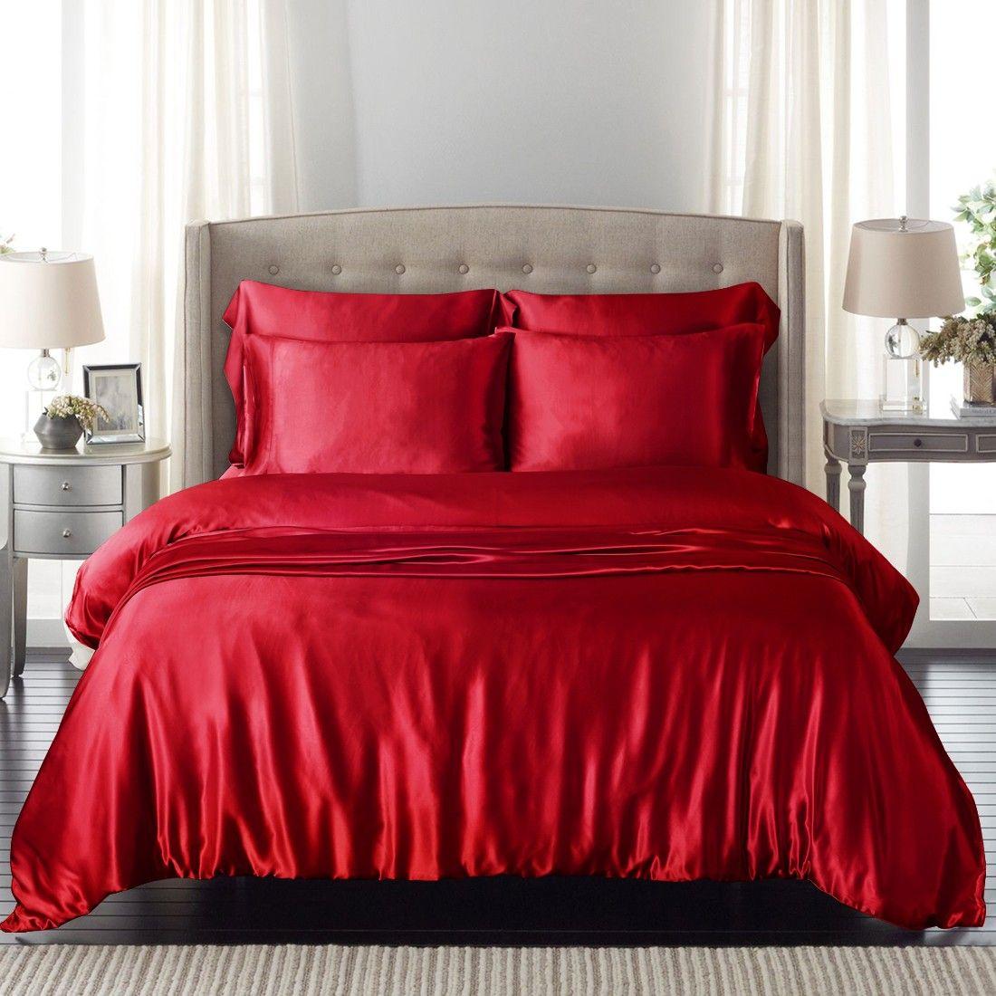 Cherry Silk Duvet Cover in 2019 Red duvet cover, Duvet