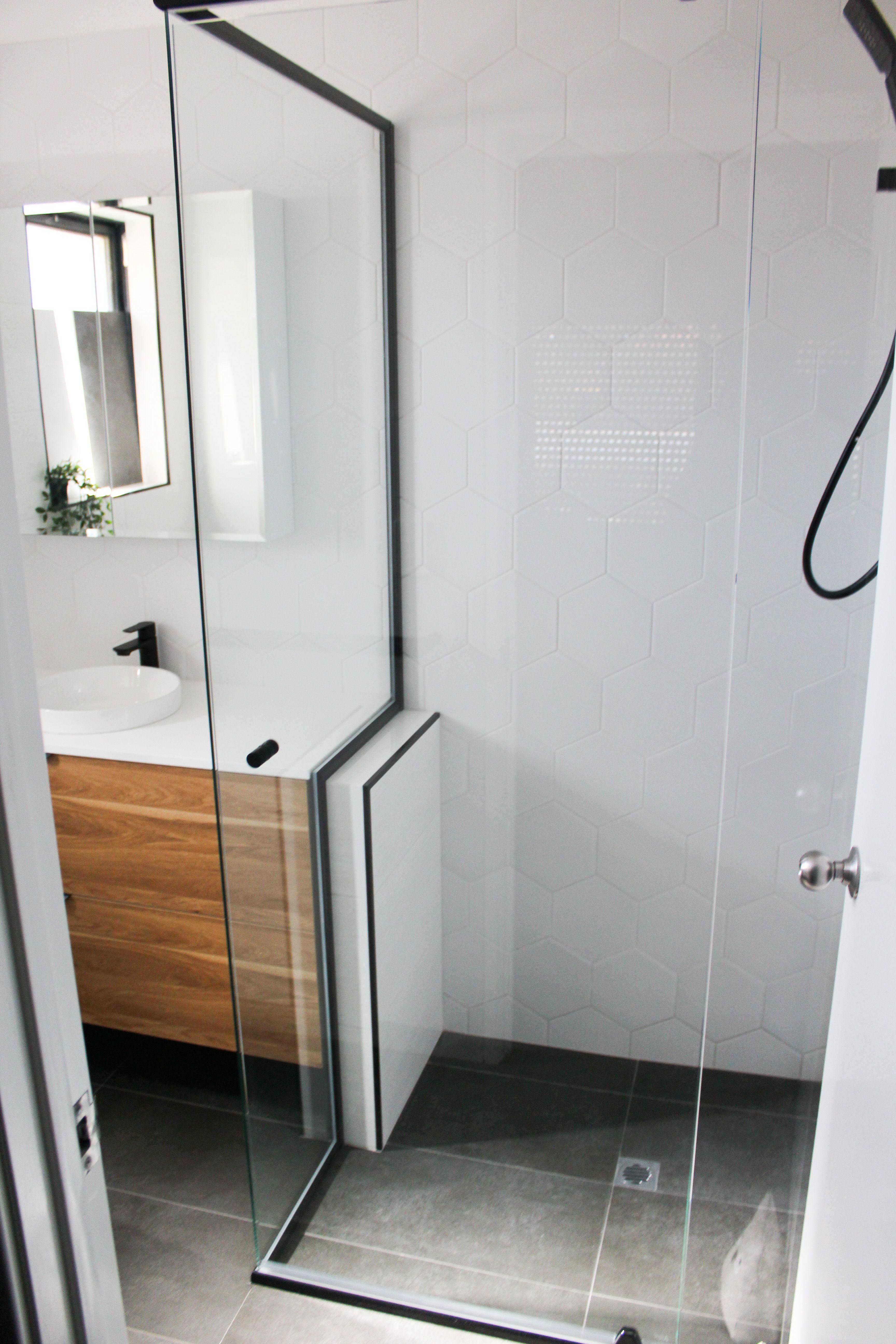 Black Shower Screen Black Trim Shower Screen White Hexagon Matt