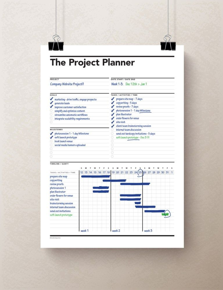 Project Planner, Gantt Chart, Productivity Planner, Work
