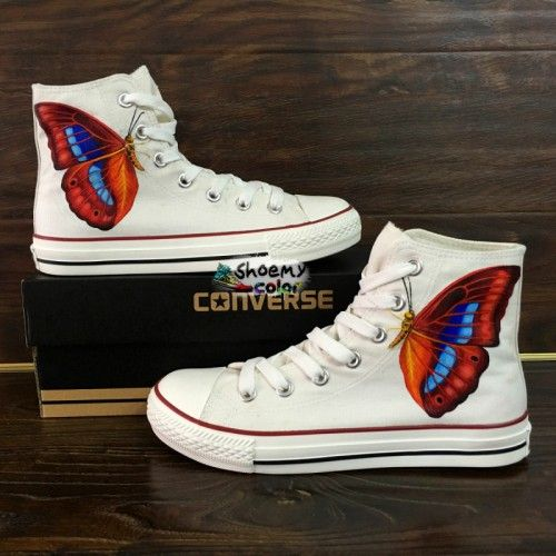 fb0678327b27 Butterfly hand painted white converse shoes with water-resistant acrylic  paints.Popular presents for festival