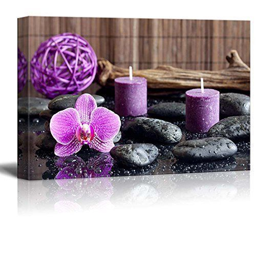 Framed Zen Stones Purple Orchid Spa Canvas Picture Prints Art