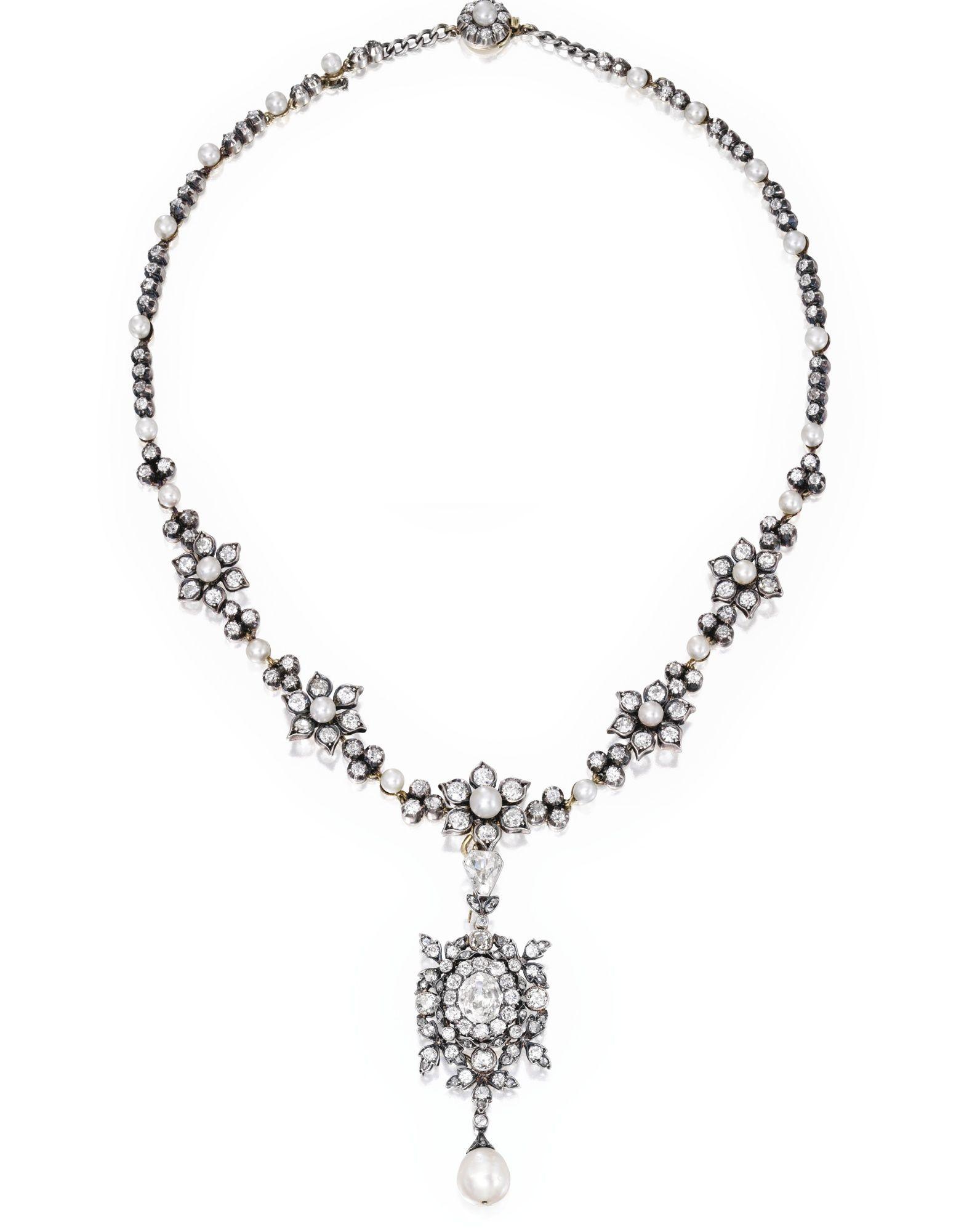 Gold silver pearl and diamond pendantnecklace circa