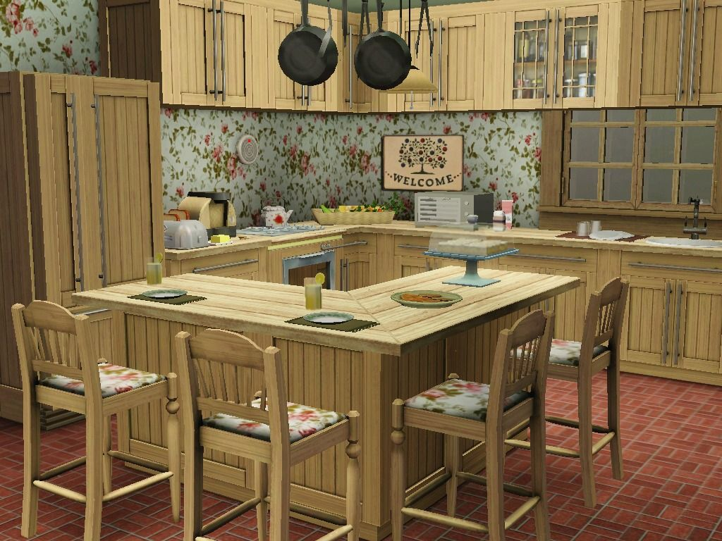 Sim Designs Lena Bean Sims My Favorite Room In The House Country Kitchen Designs Sims House Design Kitchen Design