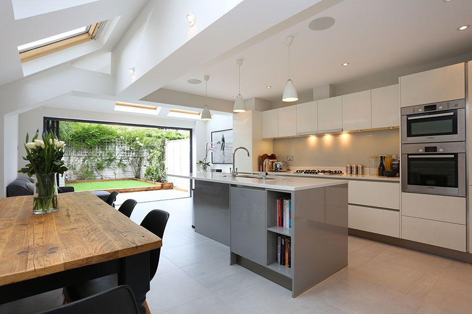 A beautiful classic pitched to hip roof kitchen extension