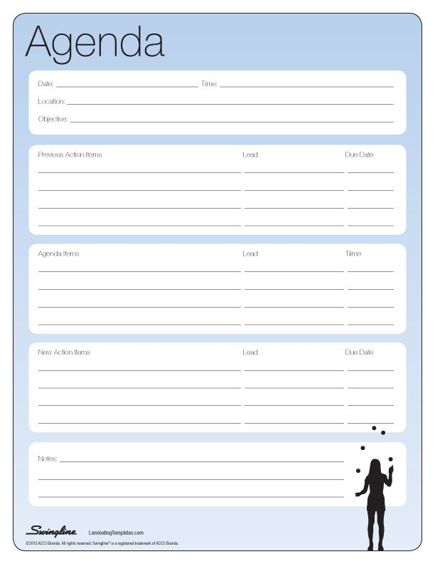 Meeting Agenda   Laminating Templates  Blank Meeting Agenda Template