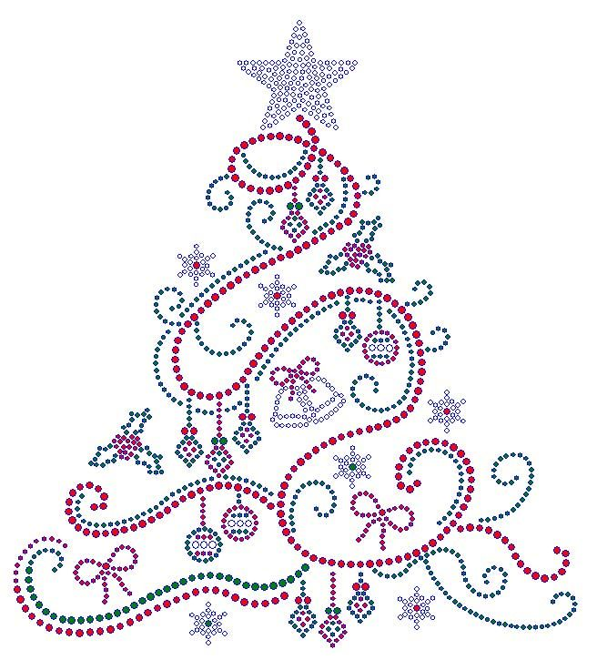 Swirl Christmas Tree With Color Rhinestone Transfer