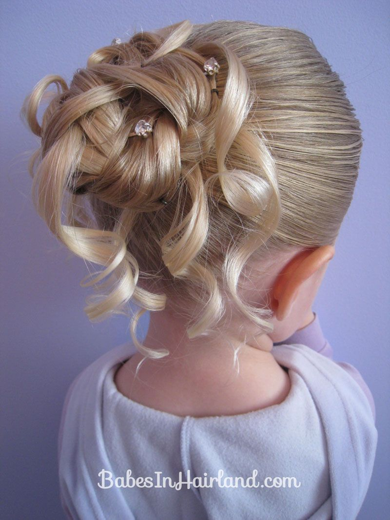 feather braided bun #2 | wedding hair styles | flower girl