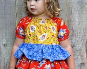 Instant Download Short Sleeve Ruffled Peasant Top PDF Sewing pattern Girls Sizes 12mo-7 Tutorial E Book