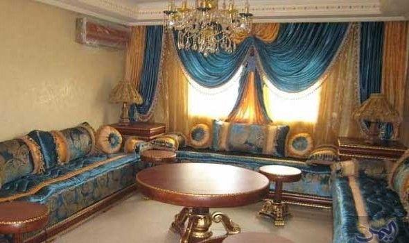 صالونات مغربية باللون الأزرق تشكل لوحة فنية Moroccan Living Room Arabic Decor Home Decor Styles