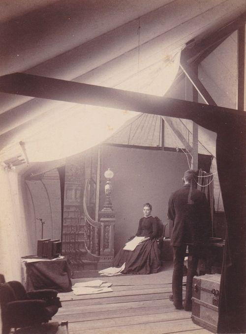 Inside photographer's studio, Parsons, Kansas (ca. 1880s)