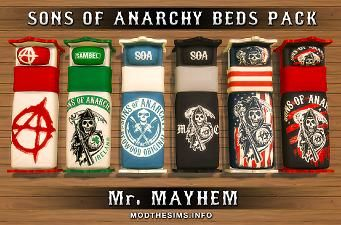 Six Single Beds Pack Sons Of Anarchy Series Sons Of Anarchy Sims Sims 4 Mods
