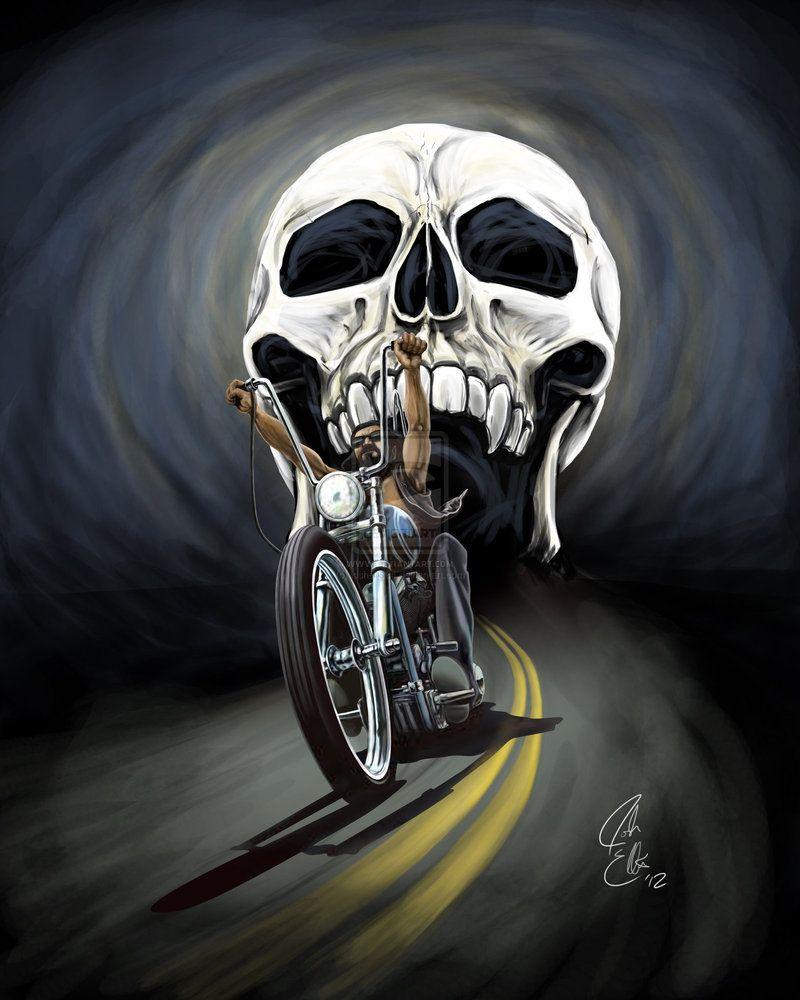 A Skull Chasing Biker