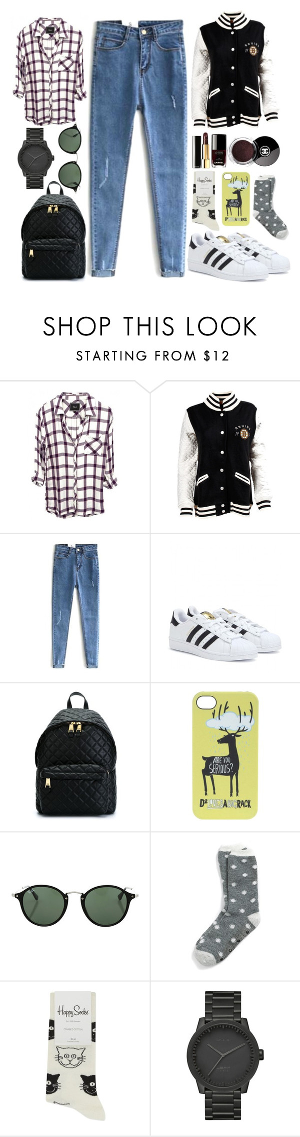 """i wish i can make it easy"" by designedbyalex ❤ liked on Polyvore featuring adidas, Moschino, Dsquared2, Ray-Ban, Tommy Hilfiger, Happy Socks, LEFF Amsterdam and Chanel"