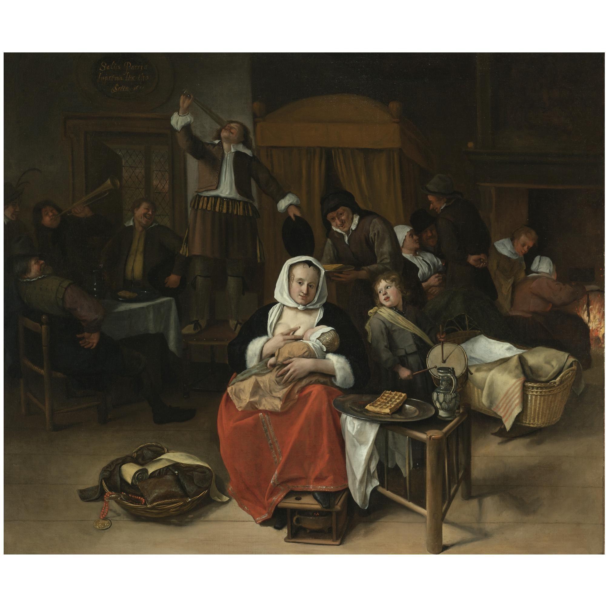Jan Steen Prinsjesdag 1661 Particuliere Verzameling Een Vrouw Geeft Een Kind De Borst Te Midden Van Een Vrolij Prince Birthday Painter Humor Dutch Painters