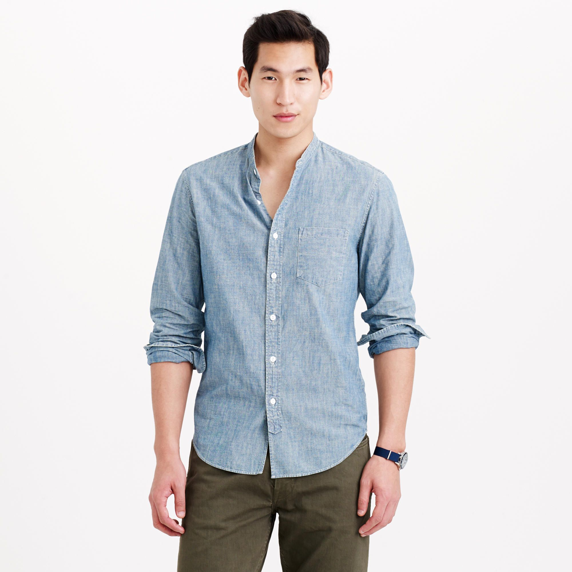 wallace barnes band collar japanese selvedge chambray