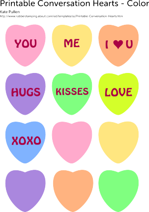 graphic regarding Printable Conversation Hearts referred to as Print Out All those 6 Cute and Free of charge Middle Templates Vacations