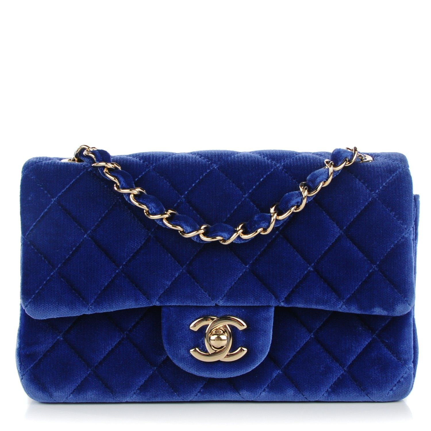 284f9f99edff Chanel Velvet Quilted Rectangular Mini Flap in Dark Blue