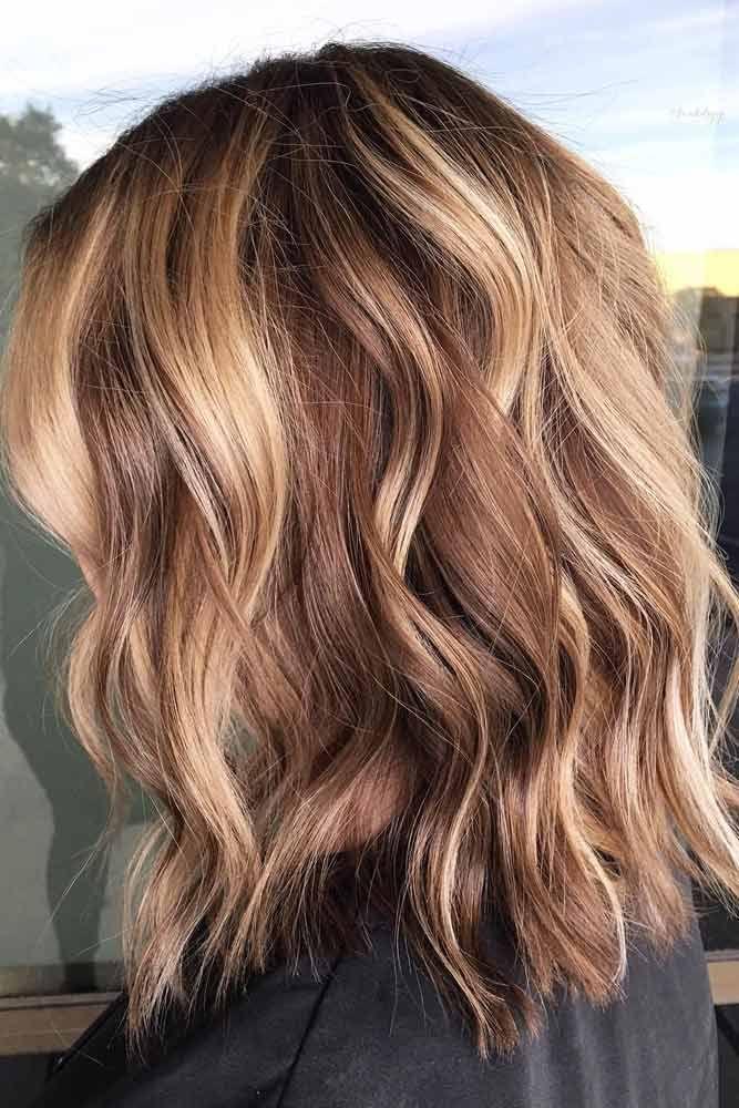 Beach Waves With Lowlights Mediumhair Lobhaircut Try One Of These 55 Funky Medium Length Hairs Thick Hair Styles Medium Length Hair Styles Medium Long Hair