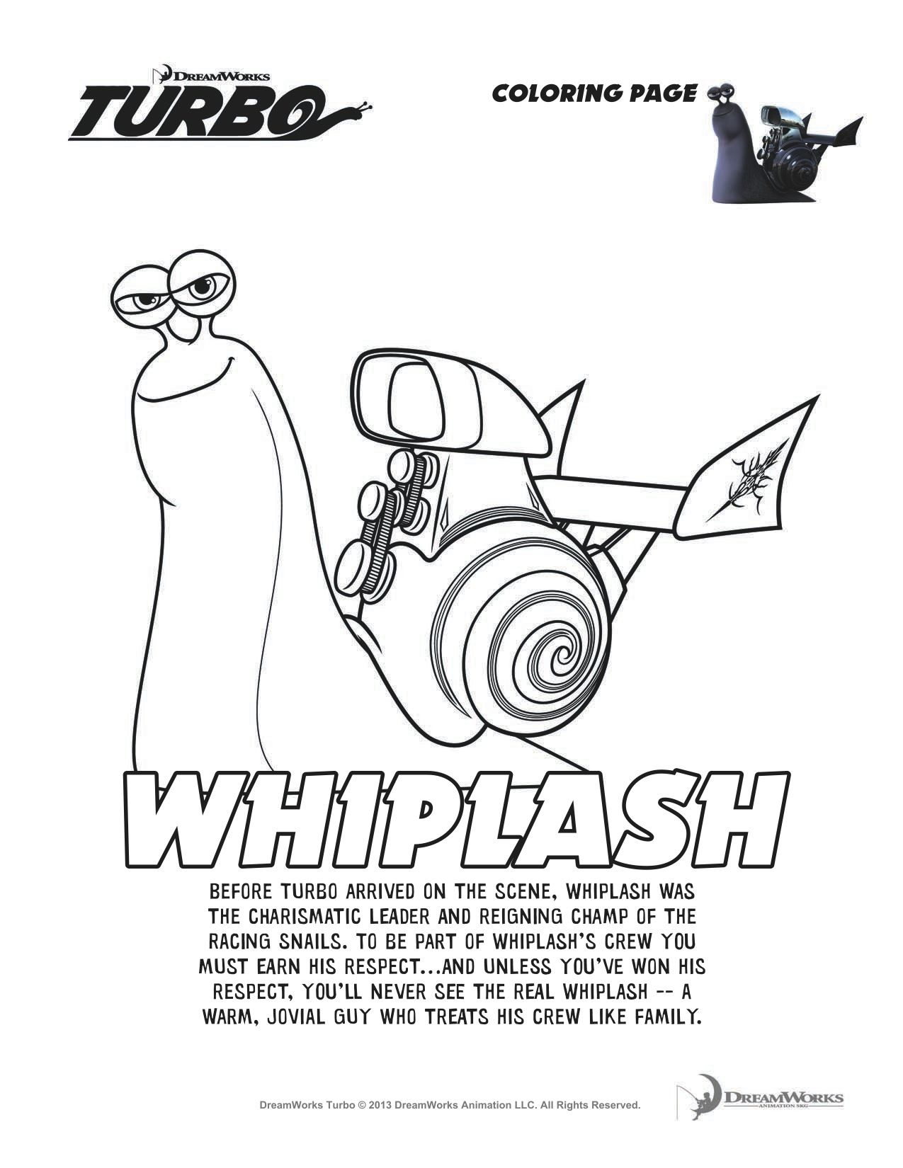 Turbo Whiplash Coloring Sheet Turbo Pinterest Birthdays