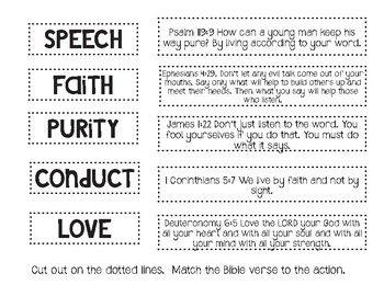 1 Timothy 4 12 Matching Activity 1 Timothy 4 12 Sunday School