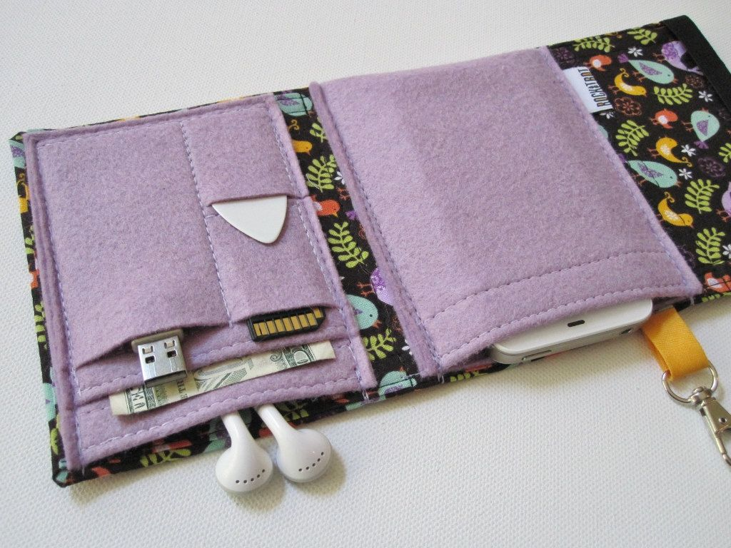 Nerd Herder gadget wallet in Birds of a Feather for iPod, Android, iPhone, camera, earbuds, SD cards, USB, extra batteries, guitar picks,. $29.00, via Etsy.