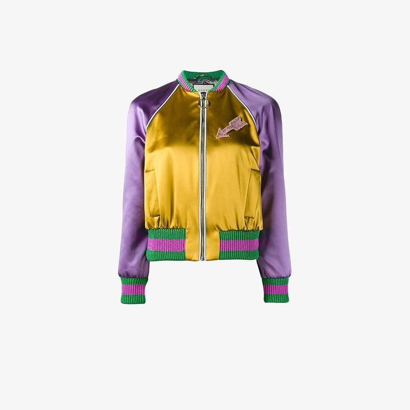 This multi-coloured Gucci embroidered silk satin bomber jacket is reason  number 99 why we love our dear friends over at the Italian label.