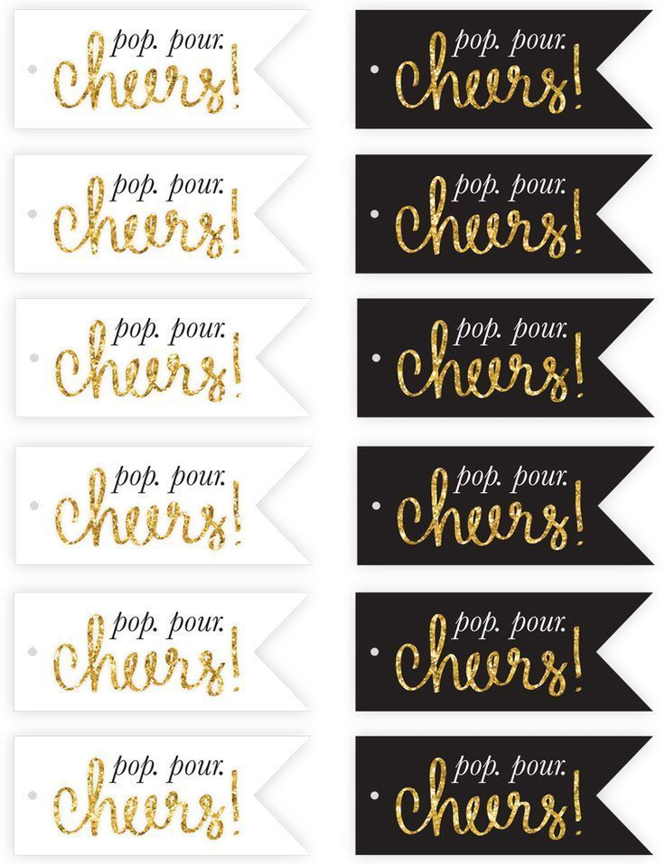 Free New Year's Eve Champagne Flute Tags Printables http